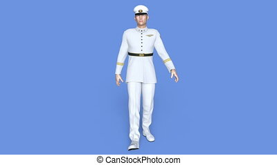 Walking serviceman - 3D CG rendering of a walking...