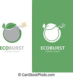 Vector of a bomb and leaf logo combination. Detonate and eco...