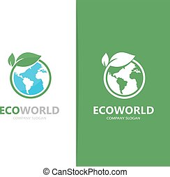 Vector of a earth and leaf logo combination. Planet and eco...