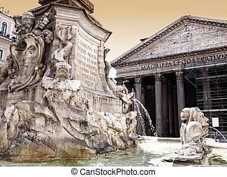 Pantheon with Fountain in Rome - The Pantheon with Fountain...