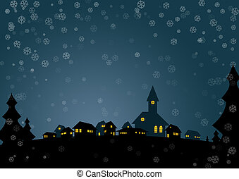 Christmas card - Nice christmas card with small village in...