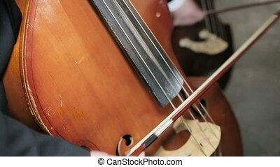 Contrabass fiddlestick strings play. Close-up - Contrabass...