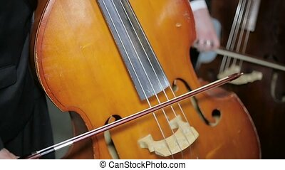 Contrabass fiddlestick strings play. Close-up - Contrabass...