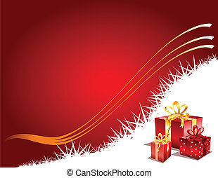 Christmas Gift page, vector - Christmas gifts on a red...