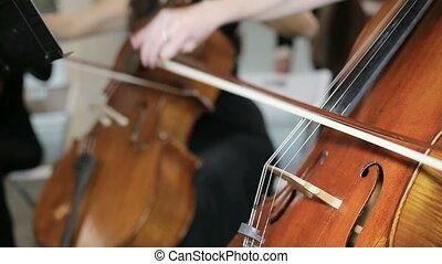 close-up view on cello in orchestra.