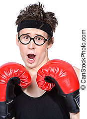 weak boxer - Funny skinny boxer man. Sports and health...
