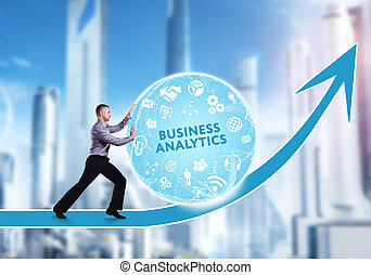 Technology, the Internet, business and network concept. A young businessman overcomes an obstacle to success: Business analytics