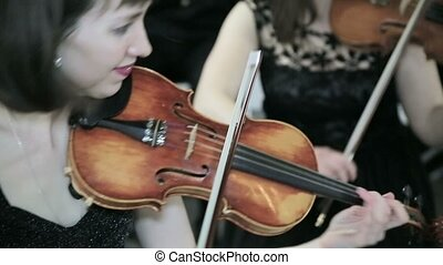 Violinists playing music. Close up - Violinists playing...