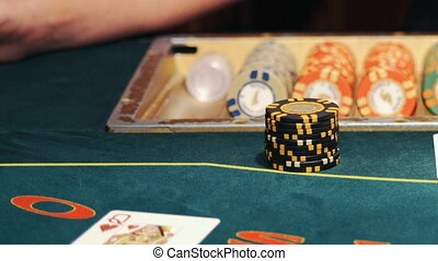 Poker table - Texas Hold'Em, professional dolly shot.