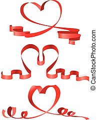 Heart from ribbon Valentines day vector backgroun