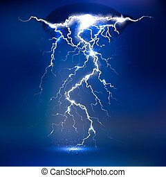 Vector lightning - isolated on blue background, luminous light effects