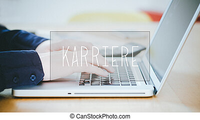 Karriere, German text for Career text over young man typing...