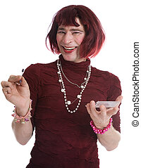 A man dressed as a woman on a white background