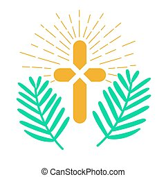 Icon palm Sunday - Icon holiday - palm Sunday. Icon in the...