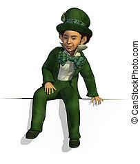 Leprechaun Sitting on Edge - 3D render of a Leprechaun...