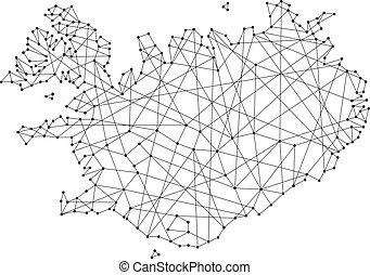 Map of Iceland from polygonal black lines and dots of vector...