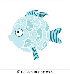 Round Blue Scaled Fantastic Colorful Aquarium Fish, Tropical...
