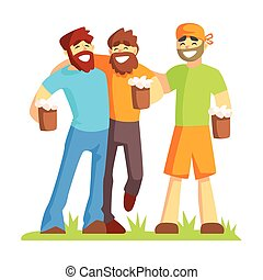 Three Friends With Bushy Beards Drinking Beer Outdoors, Part...