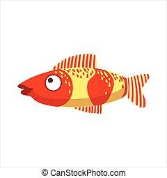 Red And Yellow Fantastic Colorful Aquarium Fish, Tropical Reef Aquatic Animal