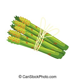 Bunch Of Asparagus Crops, Food Item Rich In Proteins, Important Element Of The Healthy Balanced Diet Vector Illustration