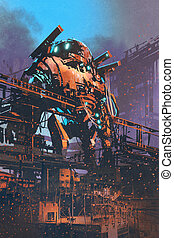 restoring the old giant robot in abandoned...