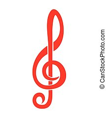 Treble clef - Vector illustration of the red treble clef