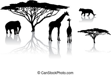 Silhouettes of animals from safari / zoo