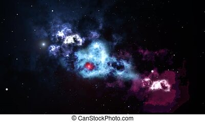 Stars and universe, colorful nebula gas cloud. Computer...