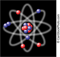 Atom - vector illustration on black background
