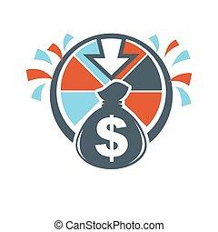 Lottery winnings money bag hand drawn logotype isolated on...