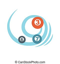 Flying balls or lottery colorful numbers graphic icon. Blue...