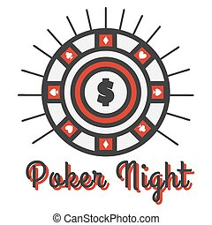 Poker night banner vector illustration. Big round emblem with dollar
