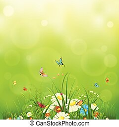 Green meadow background with flowers, butterflies and grass