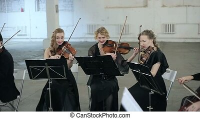 Three violinists of musician playing violin.
