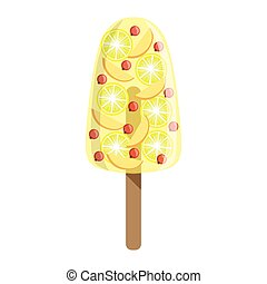 Orange, Apple And Cranberry Fruit Ice-Cream Bar On A Stick, Colorful Popsicle Isolated Cartoon Object