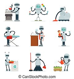 Housekeeping Household Robot Doing Home Cleanup And Other Duties Series Of Futuristic Illustration With Servant Android