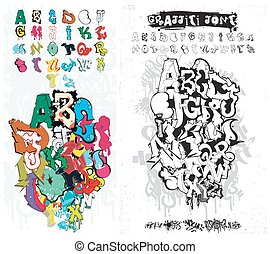 Graffiti Street Art Alphabet - Vector Alphabet Graffiti....