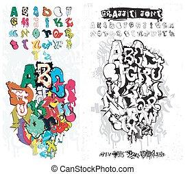 Graffiti Street Art Alphabet - Vector Alphabet Graffiti....