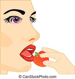 Girl eats strawberries - Making look younger girl eats berry...