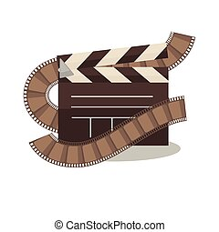 Cinema clapperboard with celluloid elements around on white...