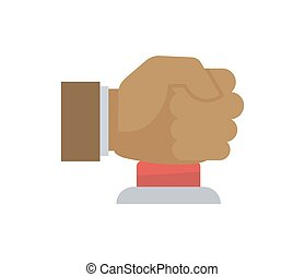 Male hand in fist pressing big red button vector illustration.