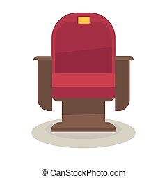 Cinema or theatre chair with velvet lining isolated on white...
