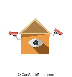 CCTV cameras on isolated element in house shape