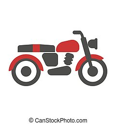 Red-black bike graphic silhouette isolated logotype on...