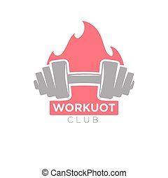 Workout club promotion banner. Dumbbell on background of...
