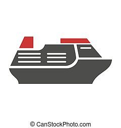 Steamboat logo silhouette vector flat icon on white -...