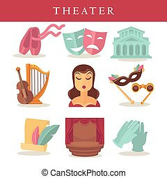 Theater flat poster of symbolic equipments on white. Pair of...