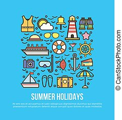 Cruise set of summer holidays elements in flat graphic...