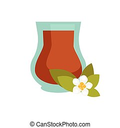Green or black tea with jasmine in turkish cup icon - Green...