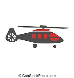 Military rescue helicopter icon vector image. Rotor plane -...